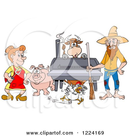 Clipart of a Hillbilly Couple by a Bbq Smoker with a Cow Chicken and Pig - Royalty Free Vector Illustration by LaffToon