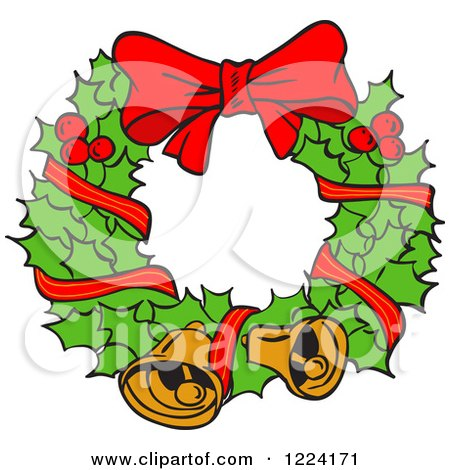 Clipart of a Holly Christmas Wreath with Bells and a Bow - Royalty Free Vector Illustration by LaffToon