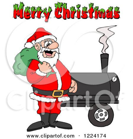 Clipart of a Merry Christmas Greeting over Santa by a Bbq Smoker - Royalty Free Vector Illustration by LaffToon