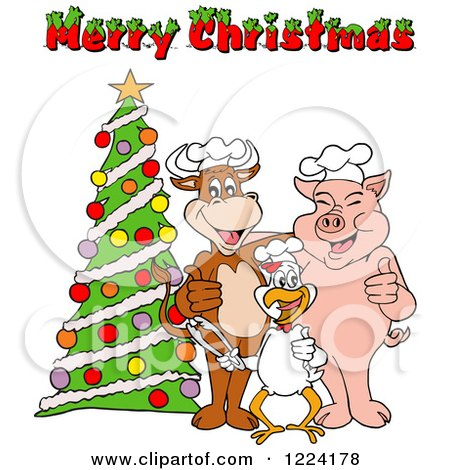 Clipart of a Merry Christmas Greeting over a Chef Cow Pig and Chicken by a Tree - Royalty Free Vector Illustration by LaffToon