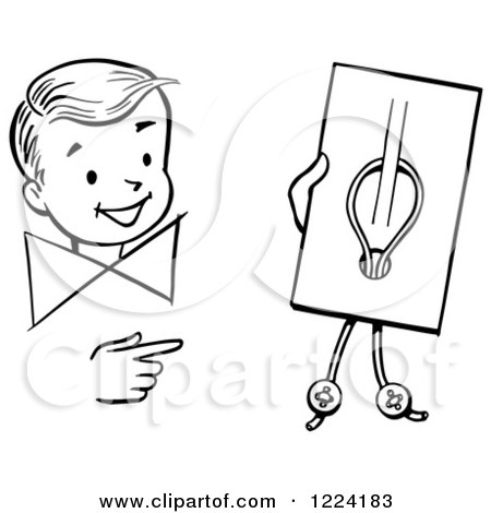Clipart of a Black and White Happy Retro Boy Performing a Button Trick Magic Trick - Royalty Free Vector Illustration by Picsburg