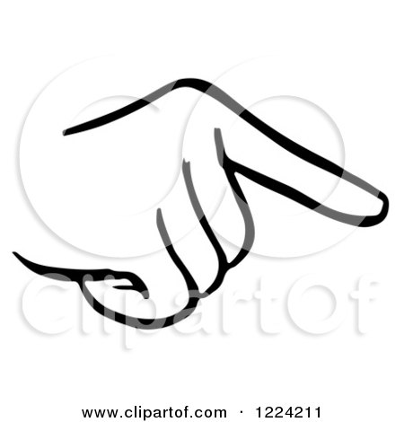 Clipart of a Black and White Pointing Hand - Royalty Free Vector Illustration by Picsburg