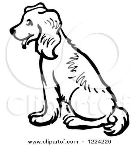 Clipart of a Black and White Happy Sitting Dog - Royalty Free Vector Illustration by Picsburg