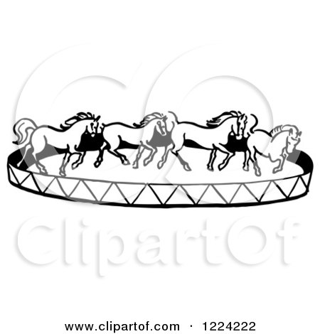 Clipart of a Black and White Horse Circus Show - Royalty Free Vector Illustration by Picsburg