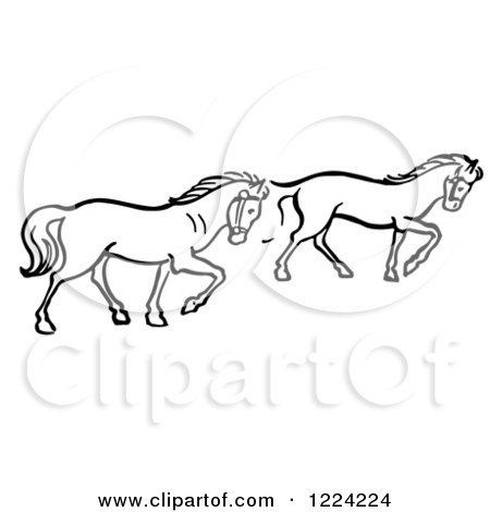 Clipart of Black and White Two Trotting Horses - Royalty Free Vector Illustration by Picsburg