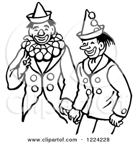 Clipart of Black and White Clowns Laughing - Royalty Free Vector Illustration by Picsburg