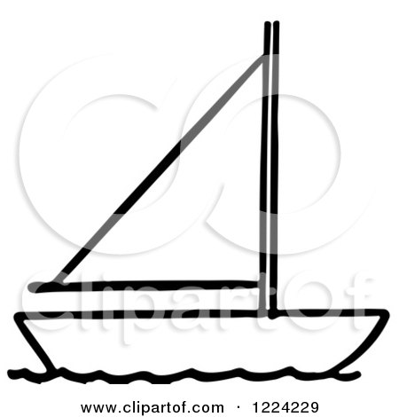 Clipart of a Black and White Sailboat - Royalty Free ...