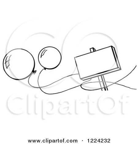 Clipart of a Black and White Blank Sign and Party Balloons - Royalty Free Vector Illustration by Picsburg