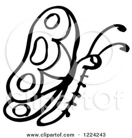 Clipart of a Black and White Butterfly - Royalty Free Vector Illustration by Picsburg
