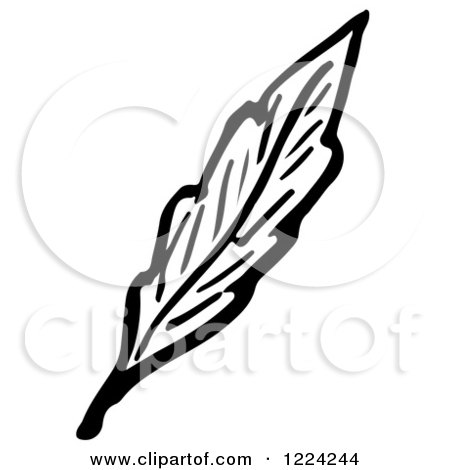 Clipart of a Black and White Leaf - Royalty Free Vector Illustration by Picsburg