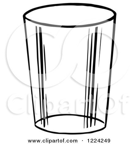 Clipart of a Black and White Glass Cup - Royalty Free ...