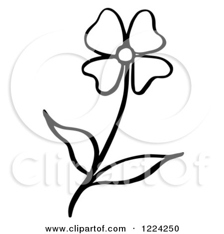 Clipart of a Black and White Flower - Royalty Free Vector Illustration by Picsburg