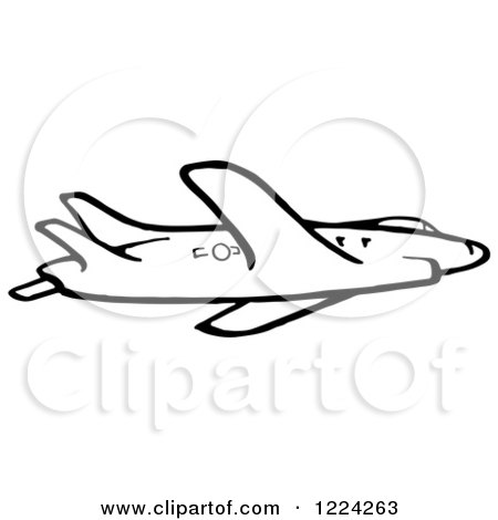 Clipart of a Black and White Flying Airplane - Royalty Free Vector Illustration by Picsburg