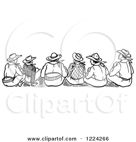 Clipart of a Black and White Rear View of Cowboys Sitting - Royalty Free Vector Illustration by Picsburg