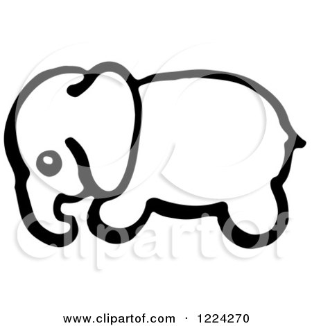 Clipart of a Black and White Baby Elephant in Profile - Royalty Free Vector Illustration by Picsburg