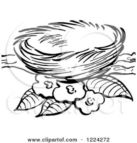 Empty bird nest clip art clipart of a black and white