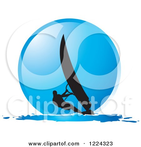 Clipart Of A Silhouetted Windsurfer Over Blue Circle