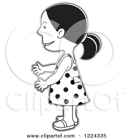 Clipart Of A Grayscale Girl In A Polka Dot Dress Facing Left