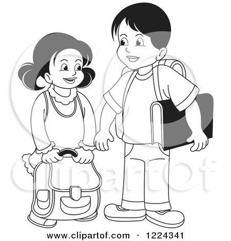 Clipart of a Black and White School Boy and Girl - Royalty Free Vector Illustration by Lal Perera