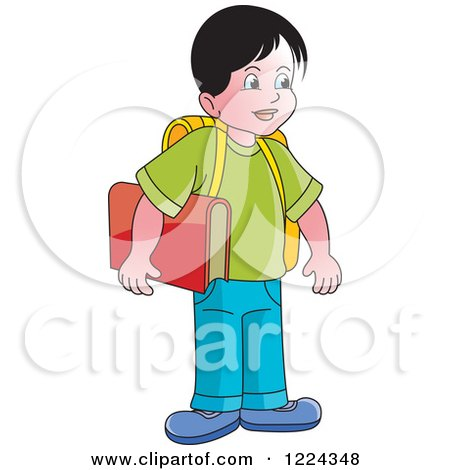 Clipart of a School Boy - Royalty Free Vector Illustration by Lal Perera