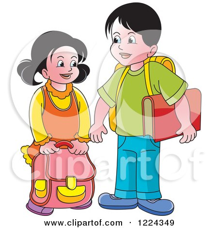 Clipart of a School Boy and Girl - Royalty Free Vector Illustration by Lal Perera