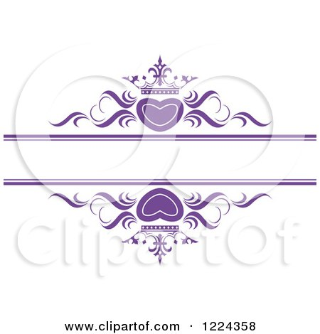 Clipart of Purple Crowned Hearts and Swirls with Copyspace - Royalty Free Vector Illustration by Lal Perera