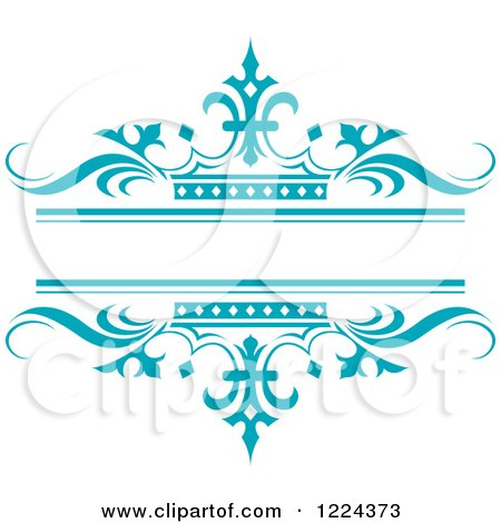 Clipart of a Turquoise Crown and Wave Wedding Frame - Royalty Free Vector Illustration by Lal Perera