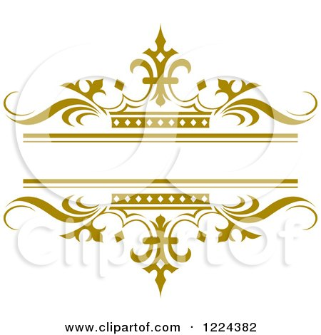 Clipart Of A Gold Crown And Wave Wedding Frame Royalty