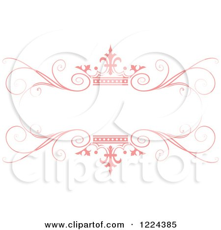 Clipart of a Pastel Pink Crown and Flourish Wedding Frame - Royalty Free Vector Illustration by Lal Perera