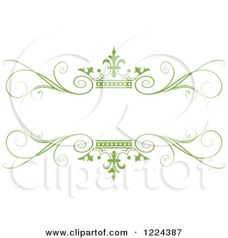 Clipart of a Green Crown and Flourish Wedding Frame - Royalty Free Vector Illustration by Lal Perera