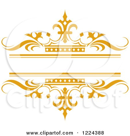Clipart of an Orange Crown and Wave Wedding Frame - Royalty Free Vector Illustration by Lal Perera