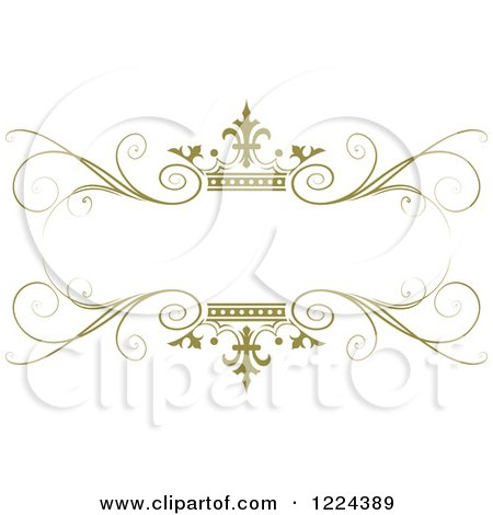 Clipart of an Olive Green Crown and Flourish Wedding Frame - Royalty Free Vector Illustration by Lal Perera