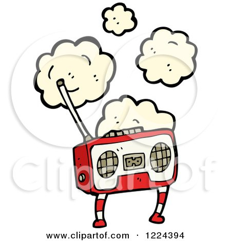 Clipart of a Boom Box with Dust - Royalty Free Vector Illustration by lineartestpilot
