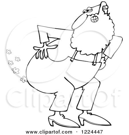 Cartoon of an Outlined Man Bending over with Fart Clouds