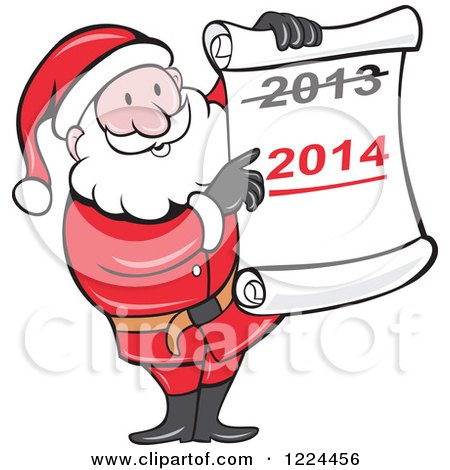 Clipart of Santa Holding a Scroll with Crossed out 2013 over 2014 - Royalty Free Vector Illustration by patrimonio