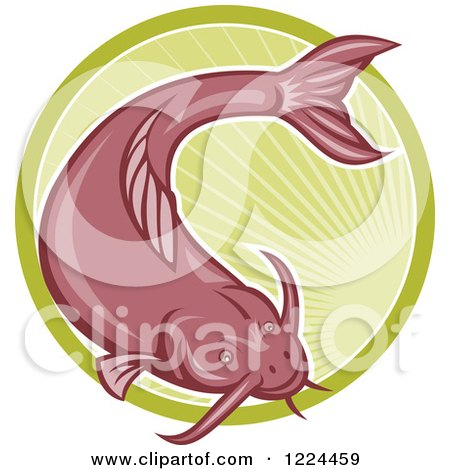 Clipart of a Red Catfish over a Green Circle of Rays - Royalty Free Vector Illustration by patrimonio