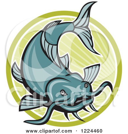 Clipart of a Leaping Catfish over a Green Circle of Rays - Royalty Free Vector Illustration by patrimonio