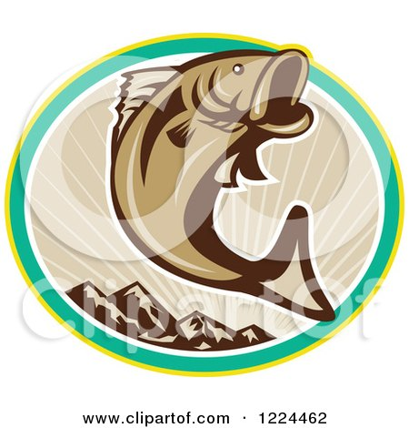 Clipart of a Leaping Brown Largemouth Bass Fish over an Oval of Mountains and Rays - Royalty Free Vector Illustration by patrimonio