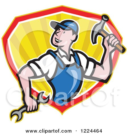 Clipart of a Cartoon Builder Man with a Hammer and Wrench in a Shield of Rays - Royalty Free Vector Illustration by patrimonio