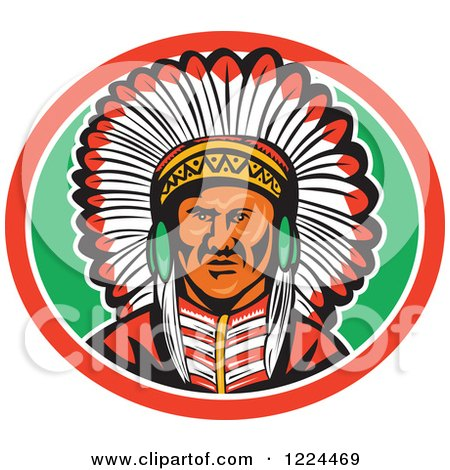Clipart of a Native American Indian Chief with a Feather Headdress in a Green and Red Oval - Royalty Free Vector Illustration by patrimonio