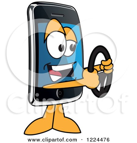 Clipart of a Smart Phone Mascot Character Holding a Steering Wheel - Royalty Free Vector Illustration by Toons4Biz