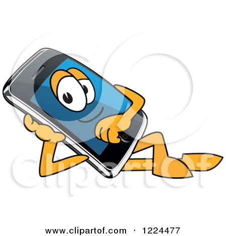 Clipart of a Smart Phone Mascot Character Relaxing - Royalty Free Vector Illustration by Toons4Biz
