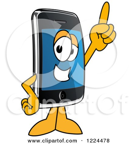 Clipart of a Smart Phone Mascot Character Pointing up - Royalty Free Vector Illustration by Toons4Biz
