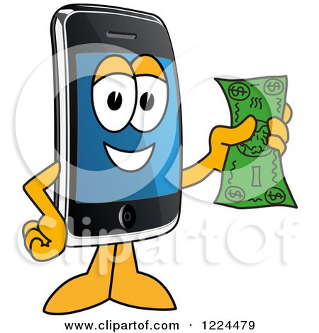 Clipart of a Smart Phone Mascot Character Holding Cash - Royalty Free Vector Illustration by Toons4Biz