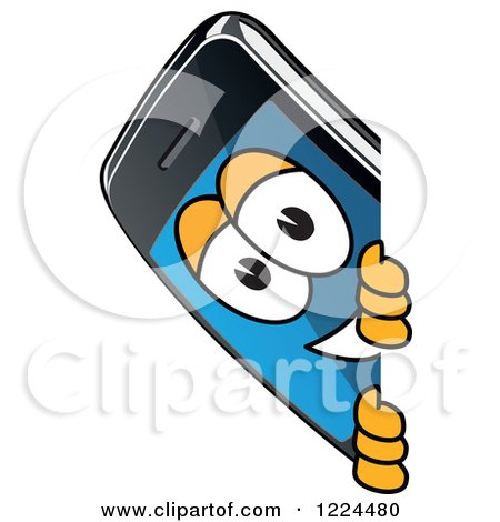 Clipart of a Smart Phone Mascot Character Looking Around a Sign - Royalty Free Vector Illustration by Toons4Biz
