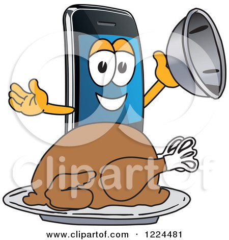 Clipart of a Smart Phone Mascot Character Serving a Roasted Thanksgiving Turkey - Royalty Free Vector Illustration by Toons4Biz