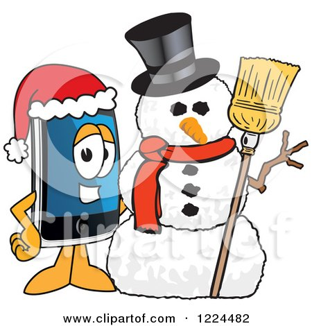 Clipart of a Smart Phone Mascot Character with a Christmas Snowman - Royalty Free Vector Illustration by Toons4Biz