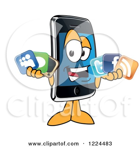 Clipart of a Smart Phone Mascot Character Holding Social Media Icons - Royalty Free Vector Illustration by Toons4Biz