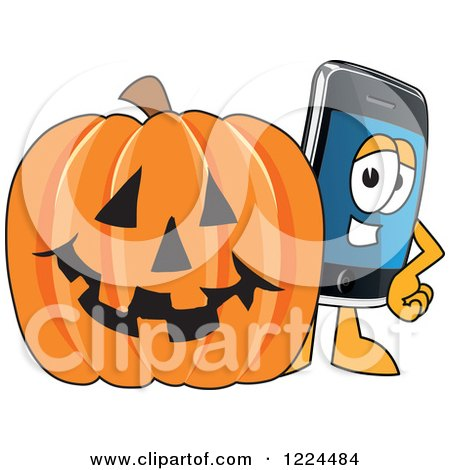 Clipart of a Smart Phone Mascot Character with a Halloween Pumpkin - Royalty Free Vector Illustration by Toons4Biz