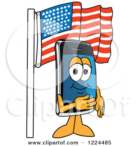 Clipart of a Smart Phone Mascot Character Under an American Flag - Royalty Free Vector Illustration by Toons4Biz